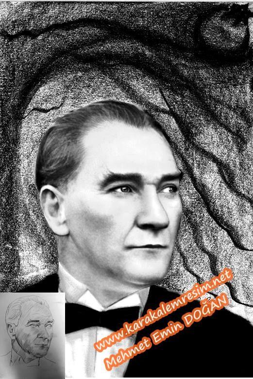 Düşük çözünürlüklü Atatürk fotoğraflarının,karakalem çizilerek netleştirilmesi | KARAKALEM RESİM-2.Alttaki ikinci Atatürk resmi,çalışmasındada orinal fotoğrafa sadık kalınarak netleştirilmeye çalışıldı.Göğüs hizasında duran papyonu kapatan şabka kaldırıldı.