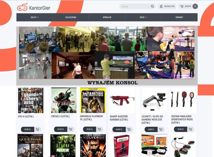 W ofercie sprzedaż/skup konsol, gier i akcesoriów. Możliwość wynajmu sprzętu na różne imprezy okolicznościowe np. urodziny, kolonie.       Serdecznie zapraszamy na www.KantorGier.pl  http://www.alleopole.pl/24/
