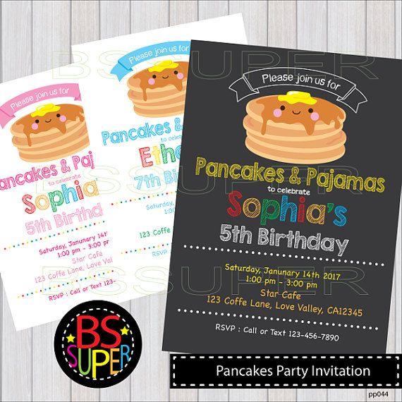 Pancakes and Pajamas invitation Breakfast Birthday party