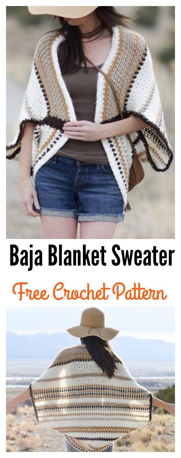 Baja Blanket Sweater Free Crochet Pattern