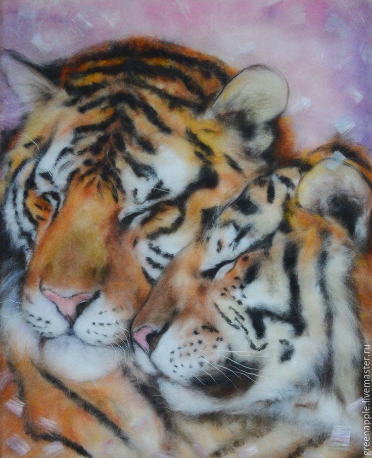 """Купить """"Серпантин любви"""" - розовый, тигры, картина из шерсти, живопись шерстью, картина для спальни"""