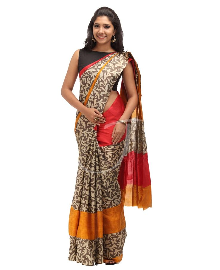 Printed Silk Saree Kochi Kerala Shop Online INR 4260 Product Code : TS-666 Silk Fabric. Multicolor. Red, mustard n black color printed body with border. Dual border, one side printed red color border n the other side is printed design border. Multicolor printed designed pallu. Blouse is Mustard yellow color with self horizontal lines.