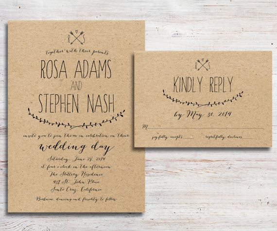 Wedding Invitations Pintrest: Rustic Wedding Invitation And RSVP Kraft By