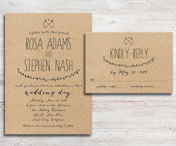 Online Wedding Invitation Wordings: Rustic Wedding Invitation And RSVP Kraft By