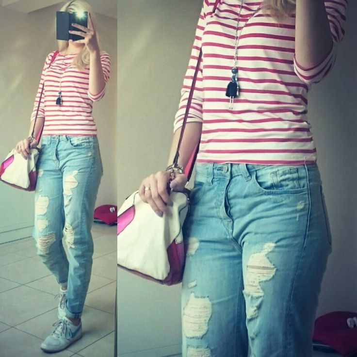 #ripped #boyfriend #jeans,  #navy #red #stripes #t-shirt, #nike #sneakers,  #unitedcoloursofbenetton #bag, #funky #necklace