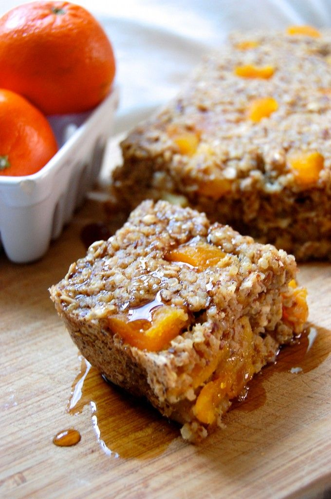 Baked Quinoa Oatmeal with Apricots! Sounds so incredibly delicious; easy easy to make & healthy :) I love the use of quinoa- would give them a wonderful texture & added protein! great breakfast or snack! #vegan (comment by @paigeydoll1 )