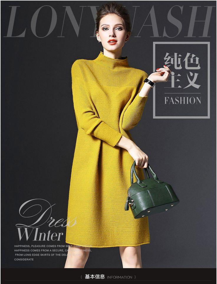 2016 осень и зима новых женщин с длинными рукавами плюс размер свободные трикотажные свитера платье большой размер трикотажное платье зимние женские 5xl купить на AliExpress