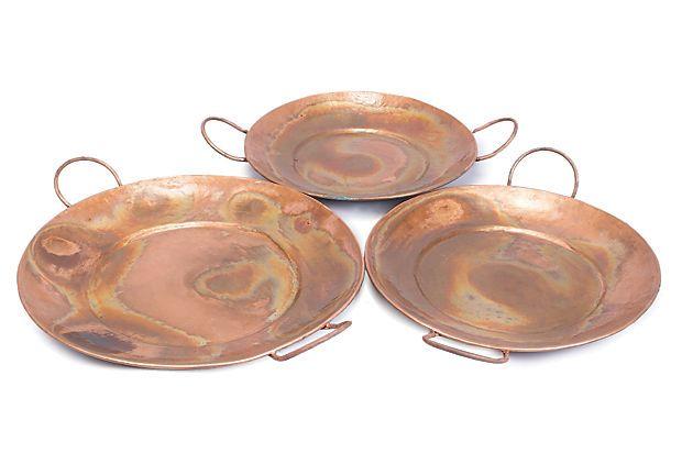 S/3 Copper Trays w/ Round Handles on OneKingsLane.com