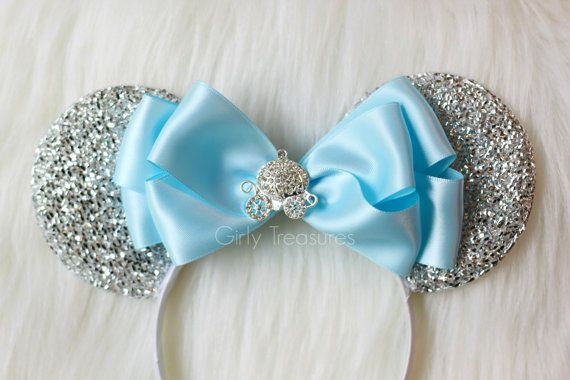 This pretty bow is a Girly Treasures exclusive design ♥ *One size fits Most* Please note the back of the ears are plain white. This adorable Cinderella Carriage inspired mouse ears headband will make the perfect accessory for your next Disney vacation, themed party or just because!