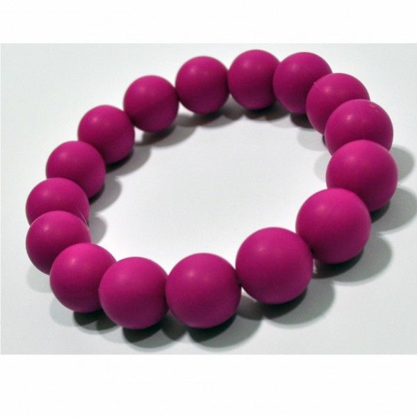 Deep Pink Food Grade Silicon Teething Bracelet