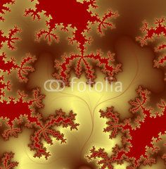 Golden fractal design on red background