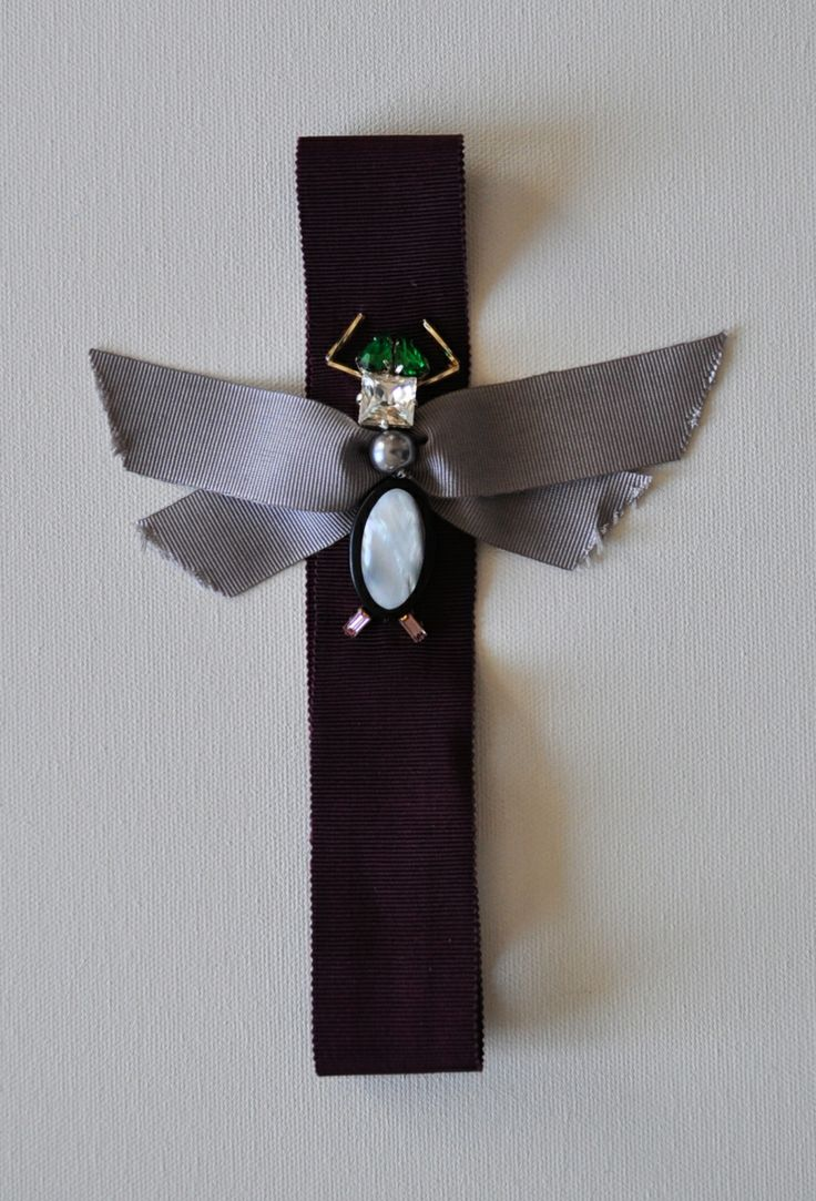 FLY headband Hand-embellished  Mixed elements on grosgrain ribbon