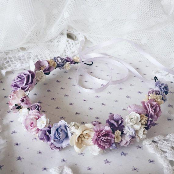 Floral crown Bridal crown bridal flower crownpurple by SERENlTY