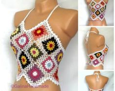 Summer Crochet Top Halter Top Tank Top Crochet by GalinaHandmade