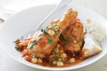 Chicken, tomato and chickpea casserole