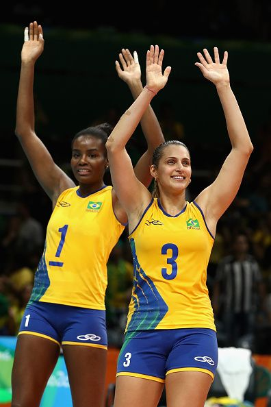 #RIO2016 Fabiana Claudino of Brazil and Danielle Lins of Brazil celebrate winning the Women's Preliminary Pool A match between Argentina and Brazil on Day 3...