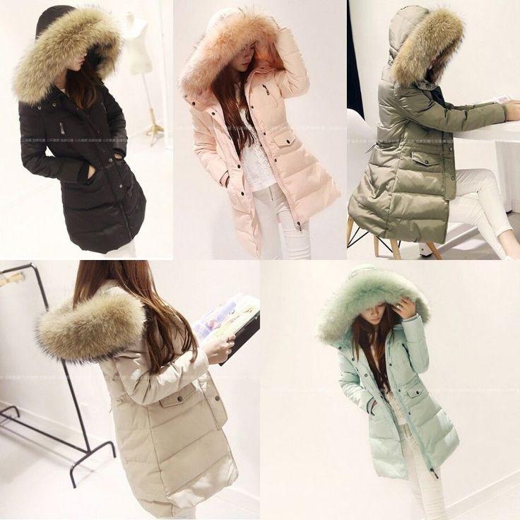 HOT Women Duck Down Coat Slim Long Parka Winter Outwear Fur Collar Hooded Jacket #Unbranded #BasicCoat