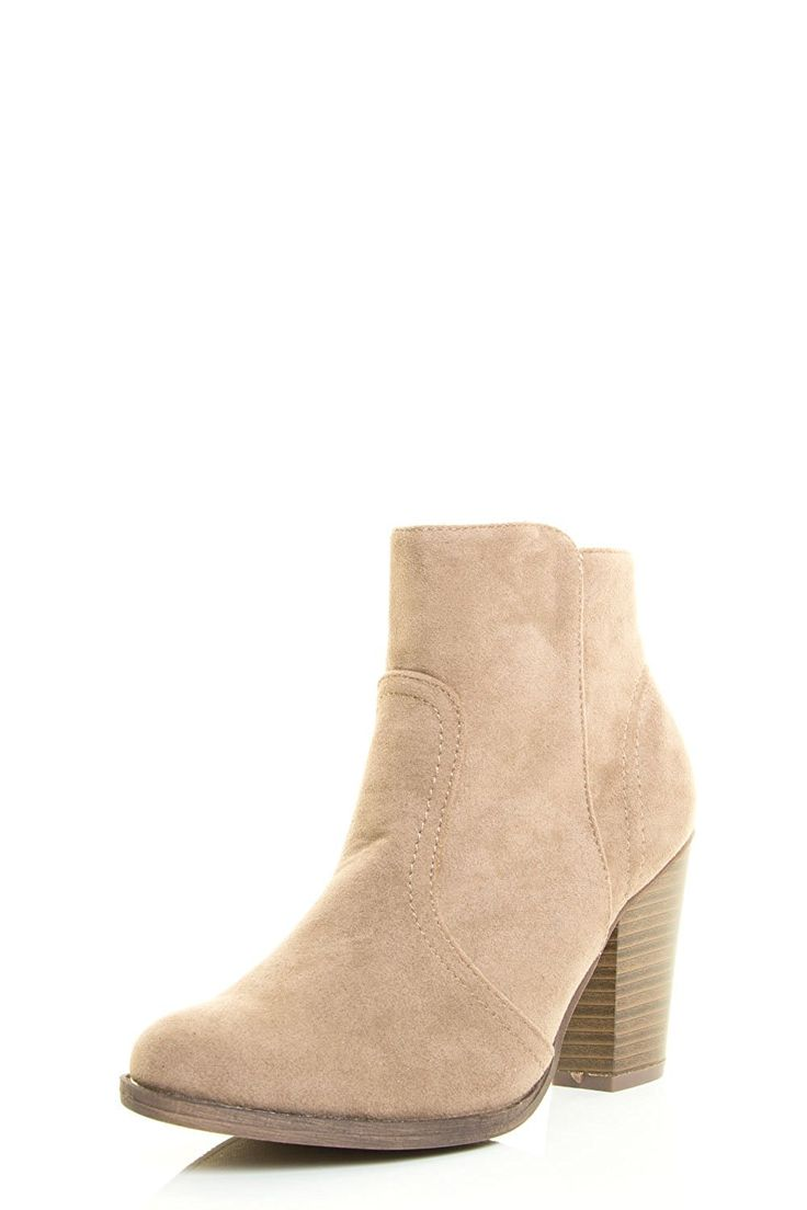 Womens Almond Toe Faux Suede Think Chunky Heel Cowboy Ankle Bootie