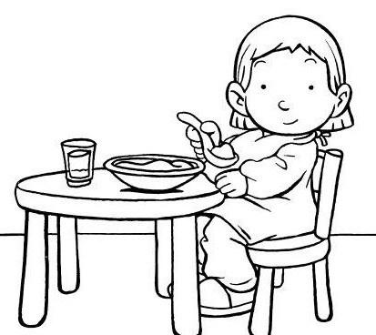 Kleurplaat eten en drinken aan tafel #kleurplaat #aan_tafel #eten #drinken