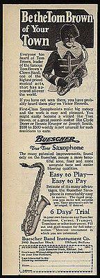 Tom Brown Clown Band Saxophone Buescher Blackface Sax Music Instrument 1930s Ad