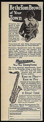 Tom Brown Clown Band Saxophone Buescher Blackface Sax Music Instrument 1930s Ad