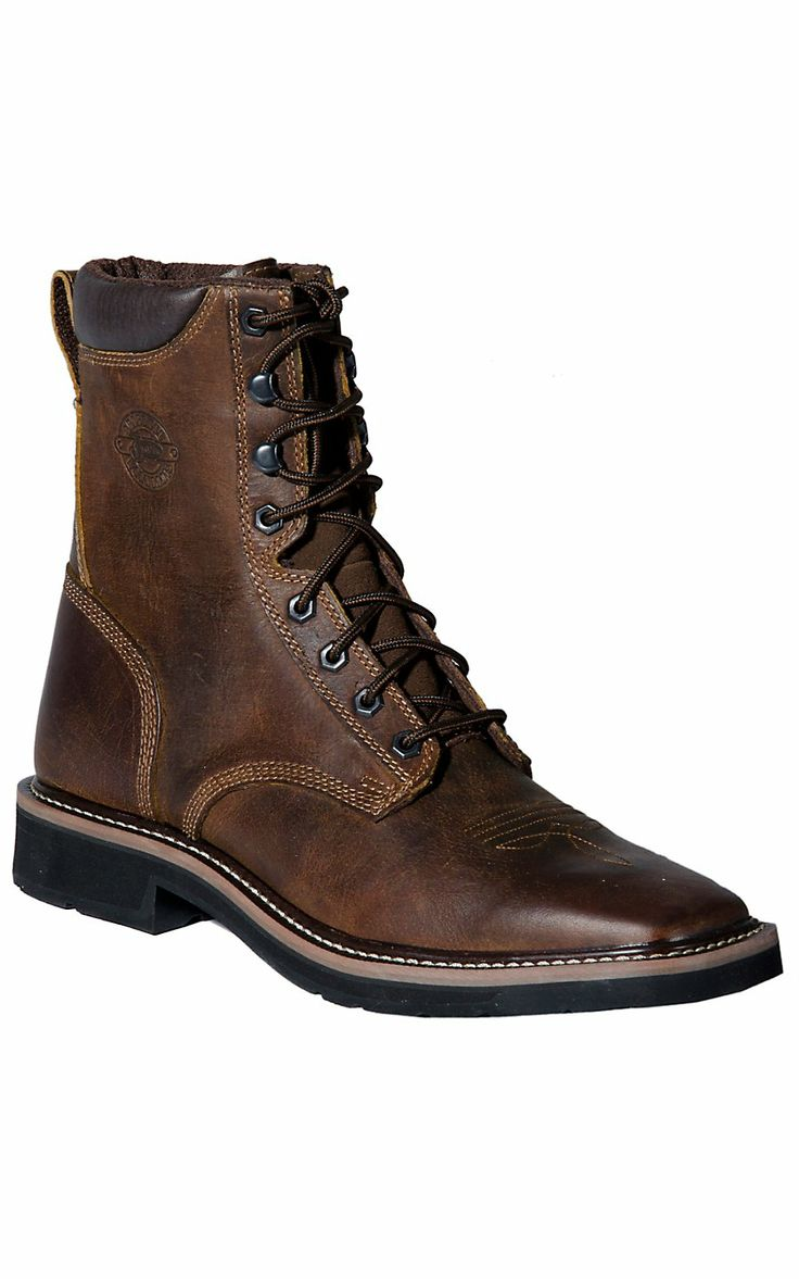 Justin 174 Stampede Men S Rugged Tan Square Steel Toe Lacer