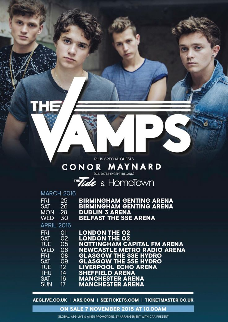 THE VAMPS WAKE UP UK TOUR 2016 IM GOING TO 2ND APRIL LONDON ONE