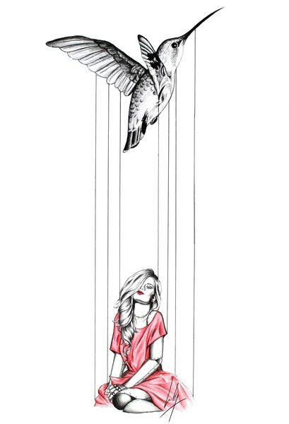 Marionette tattoo idea - don't really care for the humming bird. Maybe a white glove.