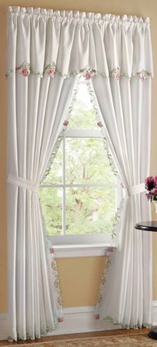 """Satiny White & Embroidered Rose Curtain Drapes with Attached Valance 84""""L x 80""""W"""