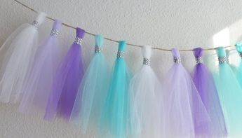 frozen aqua teal lavender purple tulle tassel garland bling
