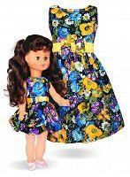 LALKA TESS W SUKIENCE NIEBIESKIE KWIATY I SUKIENKA DLA DZIEWCZYNKI - Buy4Kids - sukienki dla dziewczynek i dla lalek