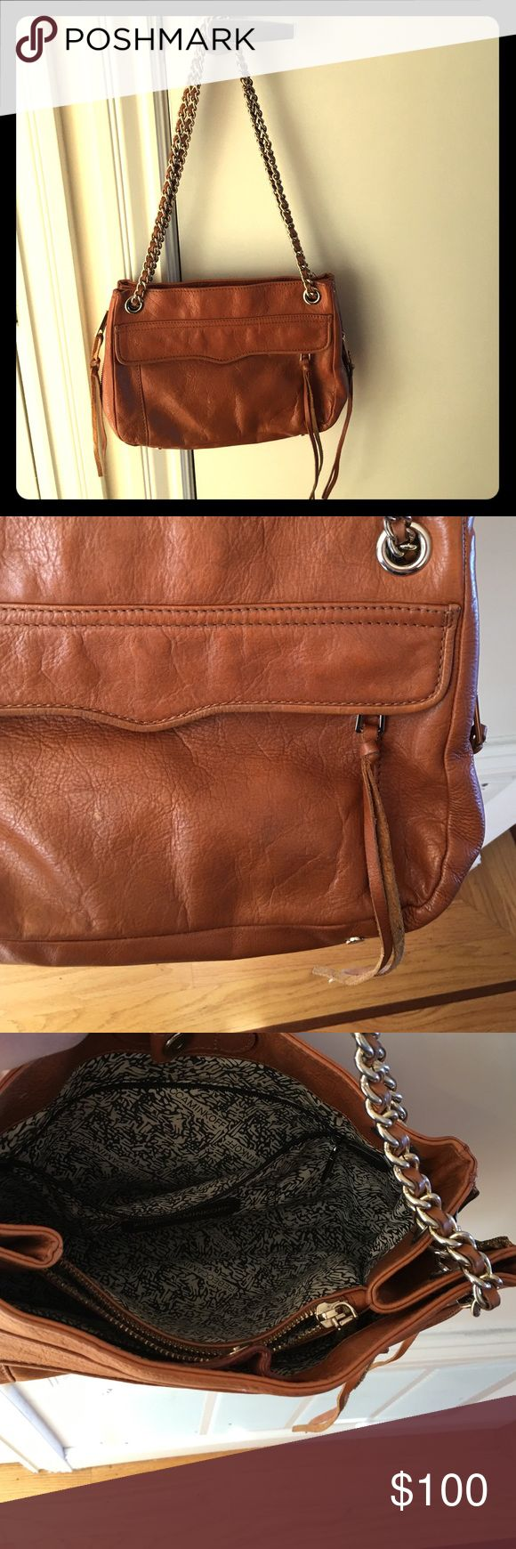 Tan leather Rebecca Minkoff purse Beautiful tan leather Rebecca Minkoff purse! The convertible gold chain can be worn over the shoulder or as a cross-body. Rebecca Minkoff Bags
