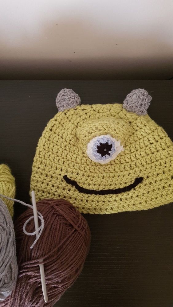 8278c6c6 Children's wool winter hat handmade crochet angry bird and Mike Wazowski  #fashion #clothing #shoes #accessories #unisexclothingshoesaccs  #unisexaccessories ...