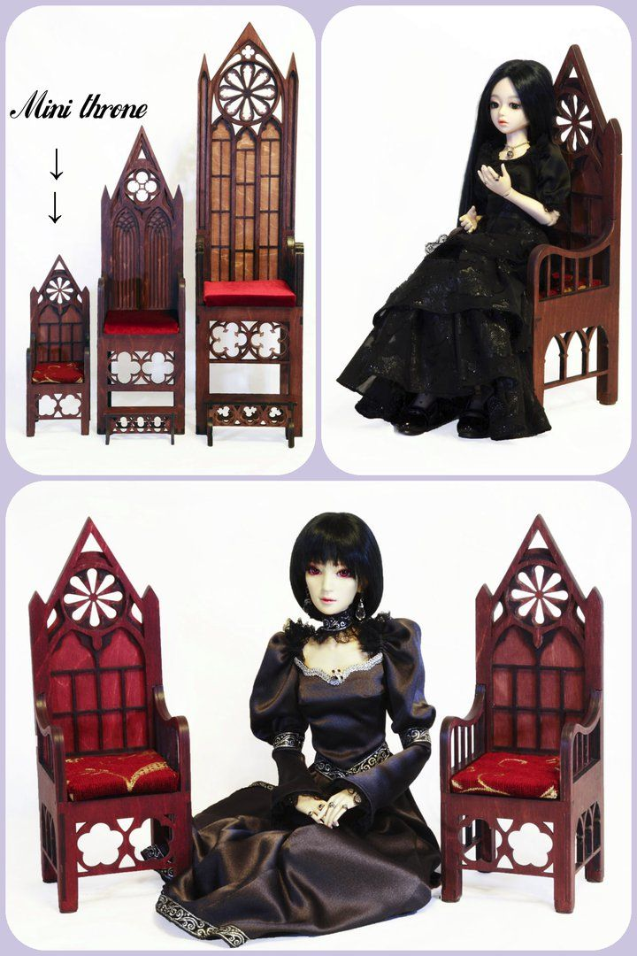 Mini tron for dolls up to 35 cm Model MSD BJD 43cm growth, for it is the throne fits like a beautiful chair. Throne height 34.5 cm, width 12cm, depth 12cm. Seat height 10.5 cm, seat width 10cm, height 11cm. Available is two colors: brown calm and noble wine For sale, the price is 40$ + shipping  #bjd #bjddoll #bjdfurniture #takumibjd #plywood #gothic #gothicchic #gothicstyle #chair #armchair #balljointeddoll #bjds #gothicfurniture #bjdchair #doll #dollstagram #dollphotography #souldoll…