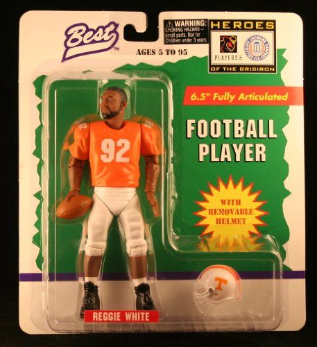REGGIE WHITE  UNIVERSITY OF TENNESSEE VOLUNTEERS  1997 NCAA College Football  65 Inch  Best Heroes of the Gridiron Fully Articulated Action Figure  Removable Football Helmet *** Visit the image link more details.
