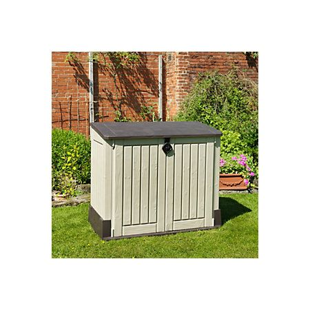 View Store It Out Midi Wood-Effect Pent Plastic Garden Storage Chest details