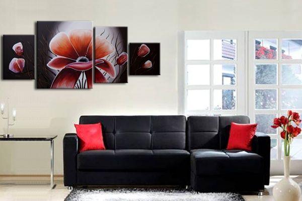 Gyönyörű virágok festett vászonképen, egyedi dekoráció hangulatos nappalidba