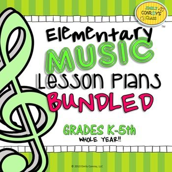 Elementary Music Lesson Plans (Bundled) includes lesson plans for a whole year of elementary music! Save $16 by purchasing this bundle! Music lessons include a brief description of the activities and songs each grade will participate in during one 40 minute class period.