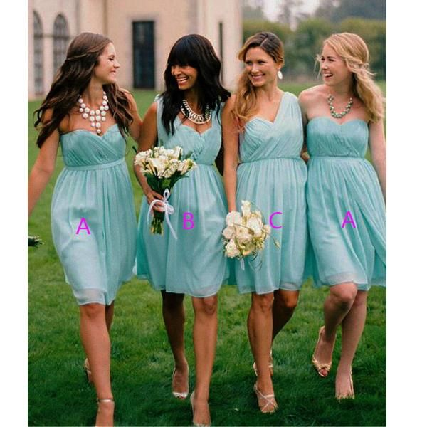 Blue Bridesmaid Dresses,Knee Length Bridesmaid Gown,Summer Bridesmaid Gowns,Beach Bridesmaid Dress,Cheap Bridesmaid Gown,Fall Bridesmaid Dress,Spring Bridesmaid Gowns For Modest Brides PD20184766
