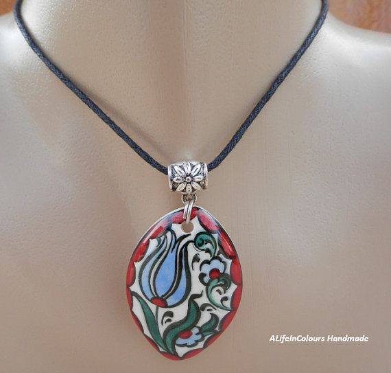 item no:48 iznik Tile tulip pendant.