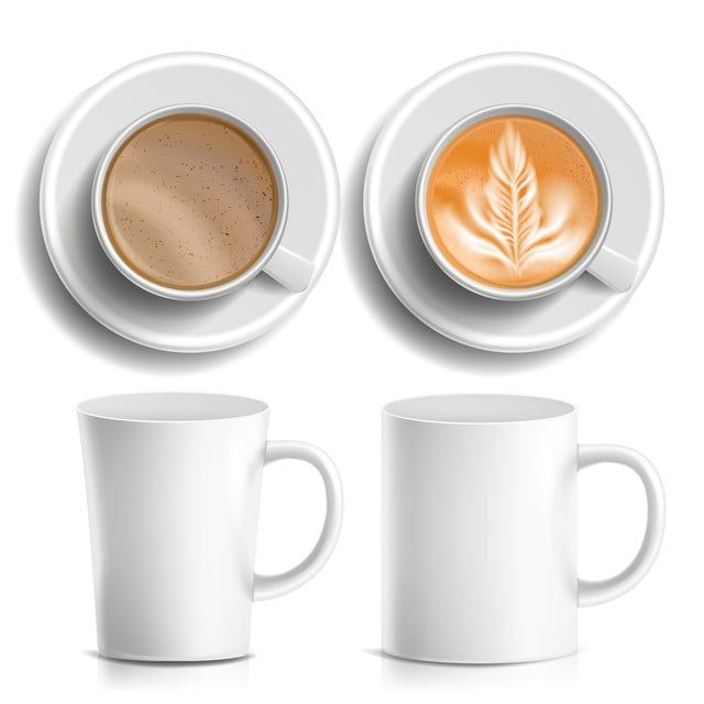 Coffee Cups Vector Top Side View Different Types Coffee Menu Hot Coffee Fast Food Cup Beverage Breakfast And Caffeine White Mug Realistic Isolated Illustration Coffee Menu Hot Coffee Fast Food Breakfast