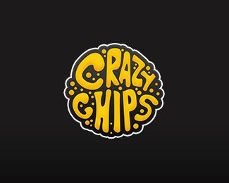 Crazy Chips Logo Design | More logos http://blog.logoswish.com/category/logo-inspiration-gallery/ #logo #design #inspiration