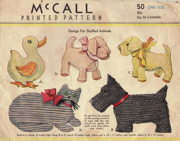 McCall Sewing Pattern 1930s Stuffed Animals Vintage Dolls Plush Baby Toys Duck Ducky Only