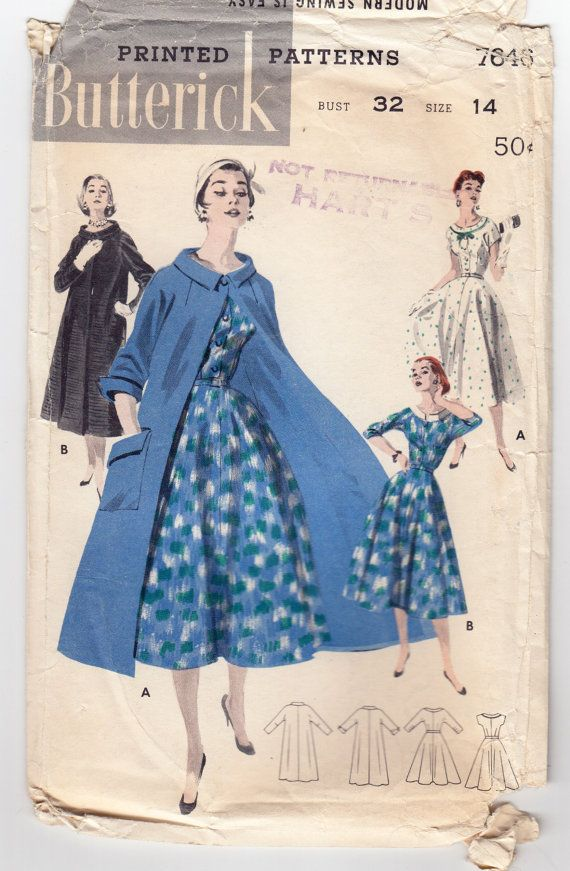 Vintage Sewing Pattern 1950's Ladies' Coat and Dress by Mrsdepew