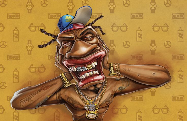 """Heart 104.9fm - rapper illustrated by Studio Muti for """"We're turning up the R'nB"""" campaign. By www.the-greenhouse.co.za"""
