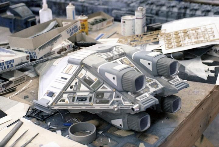 """Alien - The Narcissus' docking bay. Note the Weylan-Yutani emblen and """"E1"""", meaning """"Escape shuttle 1"""". There were to be two, originally, though the second was out of commission."""