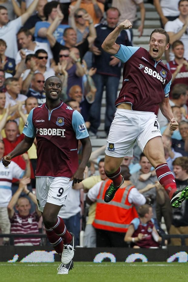 First day of 2012/13 season.  Carlton and Kevin celebrate the goal against Villa 18.8.2012.