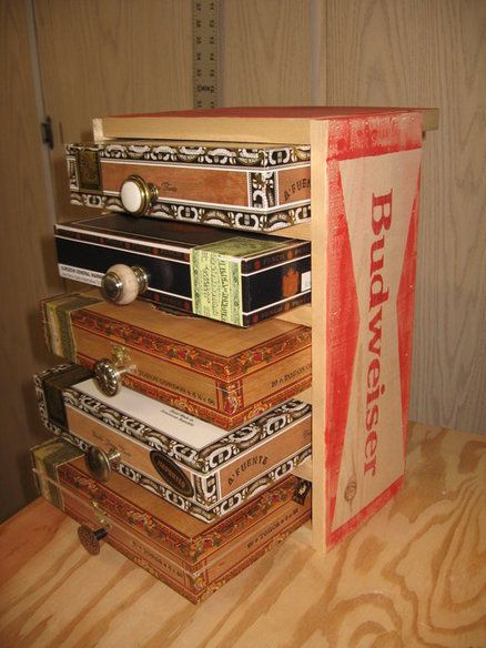 Old Cigar Box Projects | Cigar box (mini)chest of drawers, In a budweiser create? Maybe. - by ...