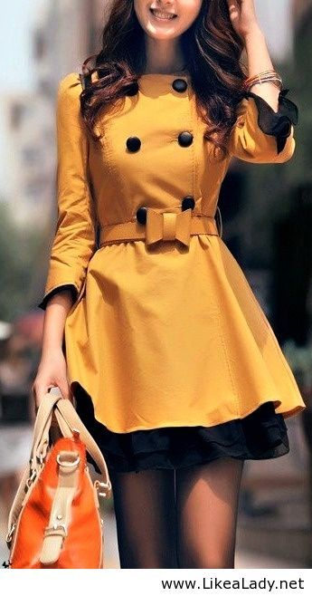 Waiting for autumn/ coat dress in marigold yellow and black