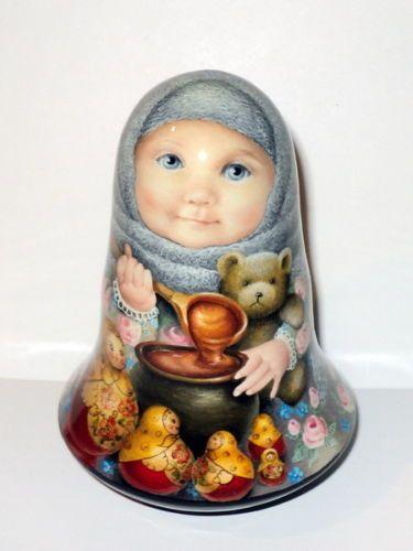 1 of Kind Painting Art Roly Poly Russian Girl Uliyana Matryoshka Nesting Doll   eBay